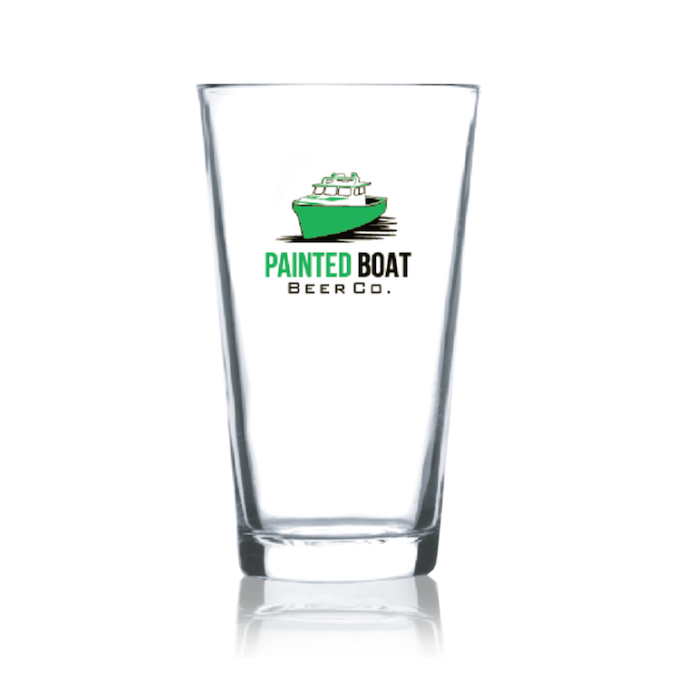 Painted Boat Pint Glass