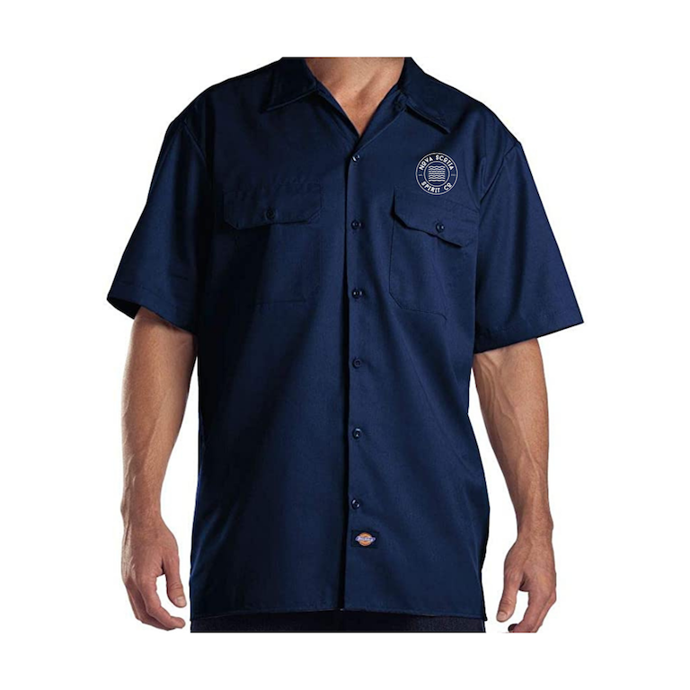 Navy Work Shirt with short sleeves and Nova Scotia Spirit Co Logo on left chest