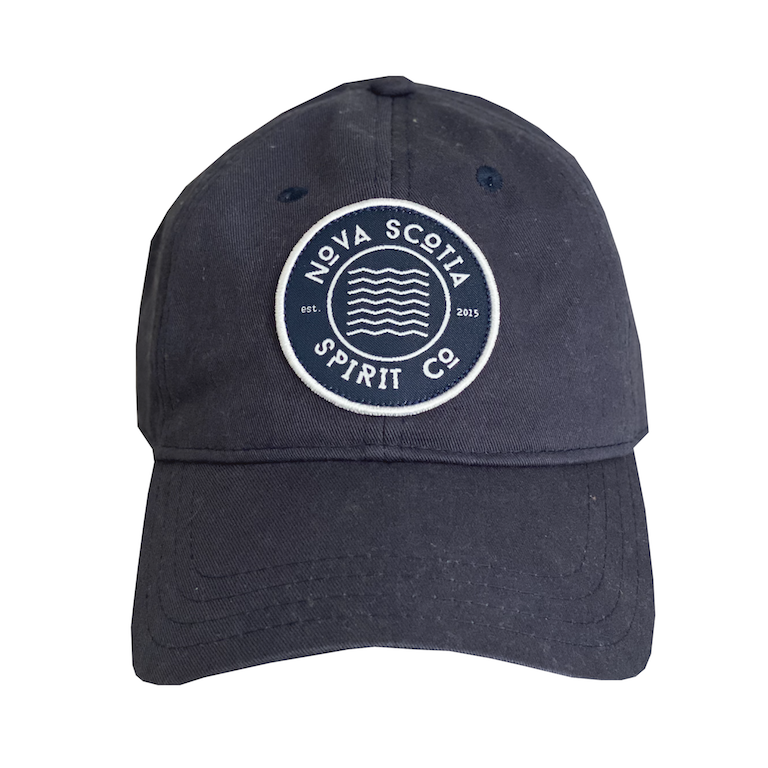 Washed navy blue dad hat with Nova Scotia Spirit Co Logo on front