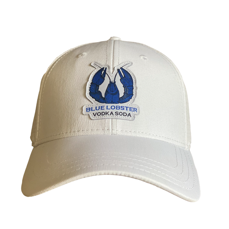 White Golf Hat with Blue Lobster Logo on front