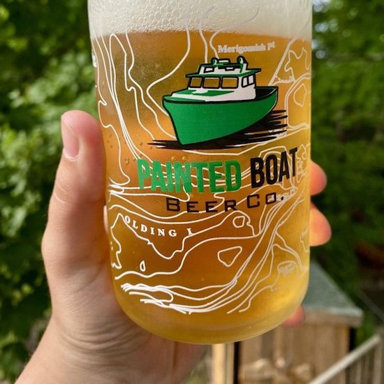 Painted Boat Beer Glass